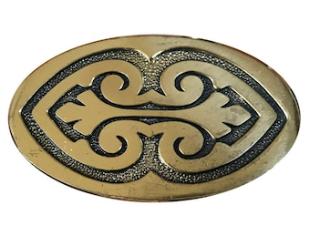 Vintage Solid Brass 1970's Belt Buckle - Western Style - Cowboy - Gift Ideas for him - Oval Round - BTS USA - Fathers Day Gift Idea