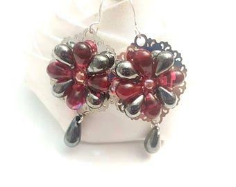 black and red flower earrings