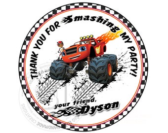 """Custom Stickers- Monster Truck Thank you Birthday 2.5"""" STICKERS-Red-Black Racing cars 2.5"""" Stickers"""