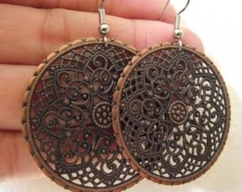 Ornate Medallion Earrings, Antiqued Copper Earrings
