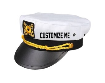CUSTOM TEXT Captain Hat- Black White Gold Skipper Hat- Yacht Sailor Customize or Personalize Sailor Captain Adjustable Snapback Hat- Skipper