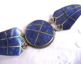 Silver lapis lazuli bracelet - Afghan silver lapis lazuli bracelet - vintage Kuchi lapis lazuli bracelet - Afghan tribal bracelet