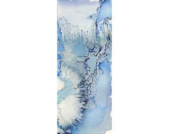 Blue abstract art print, small watercolor wall art, fantasy topography art, Hyperborea 4
