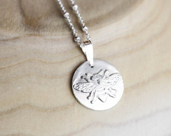 Silver Bee Necklace , Bee Fine silver , Bee pendant , Bee necklace , .999 Silver , Minimalist , Small