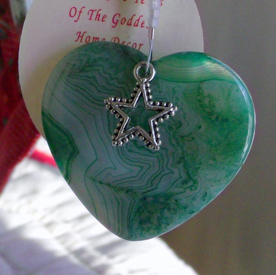 Green heart ornament - gemstone pendant - holiday gift - tree decor - cottage style - snowflake charm - agate - Christmas - Lizporiginals