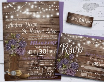 Country Wedding Invitations, Printable Rustic Wedding Invitation, Spring Wedding, String Lights, Western Wedding Invites, Cowboy Boot Purple