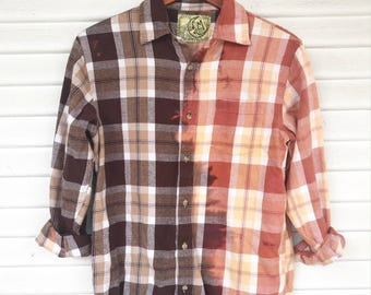 MEDIUM - Flannel Shirt - Bleached - Vintage Washed Flannel - Oversized Flannel - Distressed Flannel - Plaid Shirt - Fall Shirt - BM