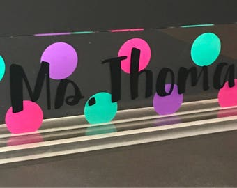 Teacher name plate, teacher name sign, teacher name plaque, teacher desk name plate, office decor, desk accessories, teacher appreciation