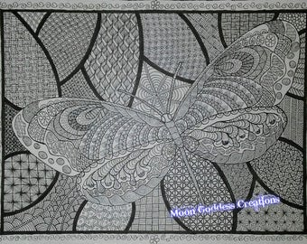 Dragonfly Zentangle (downloadable coloring page)