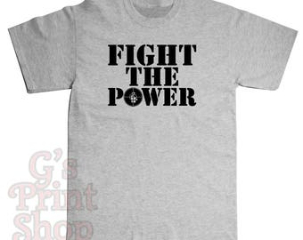 Fight The Power T Shirt - PUBLIC ENEMY -Chuck D - Flavor Flav - Professor Griff - Khari Wynn - Dj Lord - Hip Hop - Rap - Black
