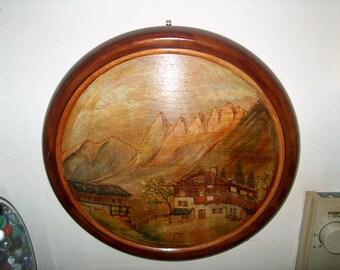 Vintage German Painting on Wood