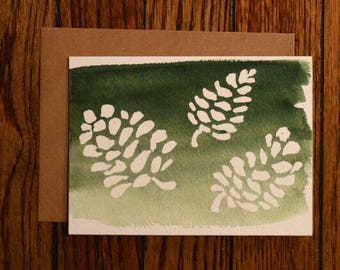 Hand-Painted Pine Cone Holiday Card
