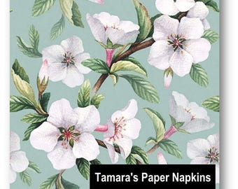 4 Decoupage Napkins, Paper Napkins, FLEUR BLOSSOMS GREEN, 33cm 13 Inch. White Blossoms against Green Background.