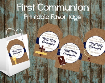 First Communion Favor Tags, First Communion Gift Tags, First Communion Party Tags, First Communion Thank You Tags, First Communion