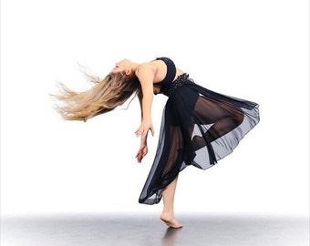 Dark Paradise Glamorous Custom Costume Dance Competition Jazz Lyrical  Contemporary Hi Low Skirt Rhinestone Swarovski Mesh