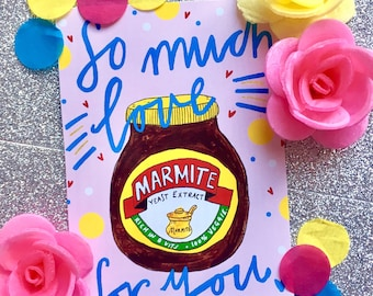 So Much Love for YOU, Marmite Valentines Card, Quirky Marmite Love Greetings Card