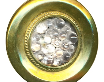 "Button--Mid-19th C. Victorian Glass Jewel ""Reflector"" with Bumps"