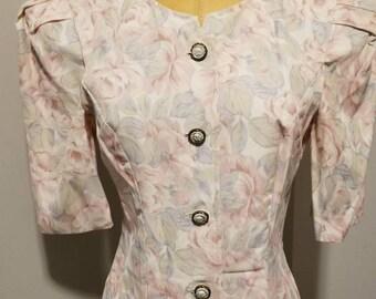 80s floral dress
