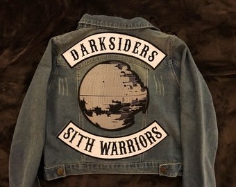 Dark Side Denim Jacket - Darth Vader Inspired Imperial Legion Jacket - Vader and Stormtrooper Cosplay Inspired - Vaders Fist Casual Cosplay