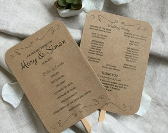 EDITABLE Wedding Program Fan template, Rustic Kraft Swashes Foldable Wedding Program, Instant Download wedding program template, digital PDF