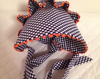 Baby bonnet, Orange and Blue Ruffled Bonnet