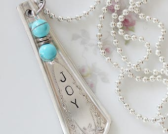 Hand Stamped Necklace - Silverware Jewelry - Spoon Handle Necklace - Gift for Mom -  Gift Under 25 - Spoon Jewelry - Spoon Pendant