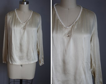 1920s Silk Top // Ivory with Tatted Lace // Medium