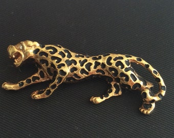 Leopard Brooch, Black and Gold, Enamel Vintage Jewelry, Gift for Her