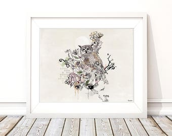 Owl drawing illustration, Archival Print of Owl Artwork, Nature Modern Wall Art, Owl Drawing