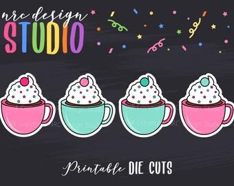 SALE Planner Die Cuts Printable, Coffee Die Cuts, Cute Food Die Cuts, Scrapbook Die Cuts, Planner Accessories - Office Supplies