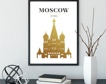 Moscow Poster in Gold, Moscow Russia Poster, Russia Travel Art, 16x20 Gold Foil Printable, Kremlin Poster, Instant Download,Minimalist Decor