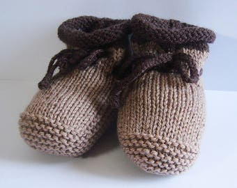 Baby booties - two-tone - Tan Brown - size 0-3 months