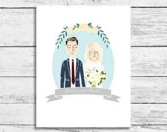 Custom Wedding Couple Half Portrait Illustration | Engagement, Announcement, Wedding Invitation, Save The Date, Gift Idea or Thank You's