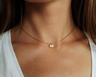 Elephant Necklace, Elephant Gifts, Gold Pendant, Elephant Jewelry, Elephant Charm Necklace, Tiny Elephant Pendant, Gold Elephant Choker