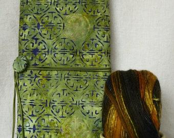 Green batik knitting needle case with zippered pockets, knitting notions organizer, batik knitting needle roll, interchangeable needle case.