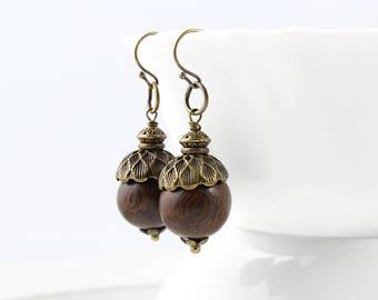 Acorn Earrings, Antique Earrings, Tribal Earrings, Boho Earrings, Woodland Jewelry, Wiccan Jewelry, Rustic Earrings, Wood Earrings, Woodland