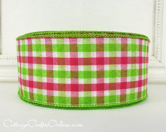 "Wired Ribbon, 2 1/2"" wide, Pink, Green, White Check Plaid - THREE YARDS -  ""Watermelon Check"", Gingham Spring, Summer Wire Edged Ribbon"
