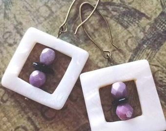 Mother of Pearl Square Earrings with Lavender Purple Luster Glass Chech Beads and small Obsidian Chips Beads on Antique Brass Earwires