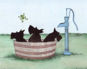 Scottish Terriers (scotties) get a bath in a washtub / Lynch signed folk art print