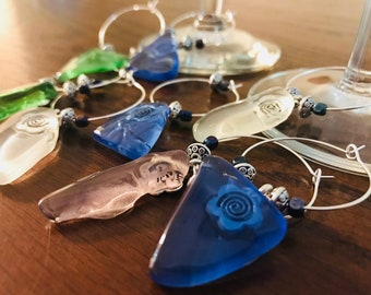 Assorted Sea Glass Wine Charms