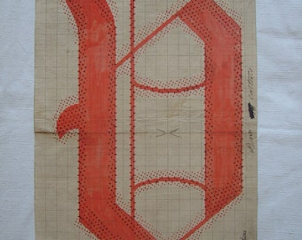 Letter V Original 19th Century Handpainted Textile Design Monogram Initial Antique Print French Gift for Paper Anniversary Gifts for Couple