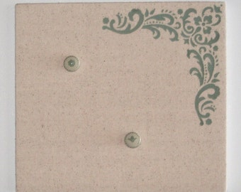 Flourish Flora Design Bulletin Board with Hand Painted Push Pins in Sage Green