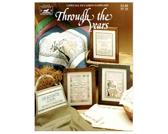 Through the Years Cross Stitch Leaflet, Samplers Cross Stitch Leaflet, Baby Cross Stitch Sampler, Wedding Cross Stitch, by NewYorkTreasures
