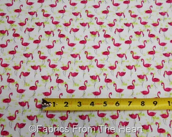 Pink Flamingos Flock of Birds on White  BY YARDS Michael Miller Cotton Fabric