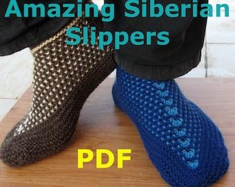 Knitting Pattern - Amazing Siberian Slippers - PDF pattern - Seamless Slippers knit flat on 2 needles - Easy to knit