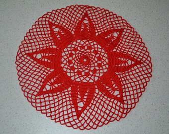 Handmade red doily, 18 cm, round crocheted with fine cotton