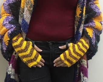 Knitted Fingerless Gloves Winter Mittens Womens Gloves Yellow Fingerless Gloves Gift Ideas Fashion Gloves Gift For Her Valentines Day gift