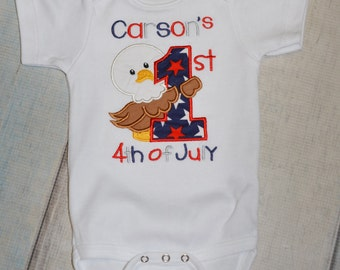 1st First Fourth 4th of July Independence day Onesie shirt Personalized Cute