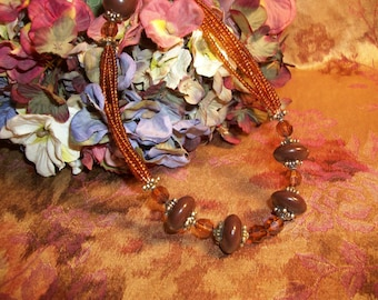 Beaded Necklace Brown Seed Beads Vintage Fashion Jewelry Adjustable Length Hippie Boho