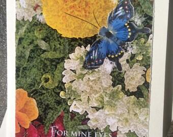 Floral original card/scripture/blank inside/matching envelope